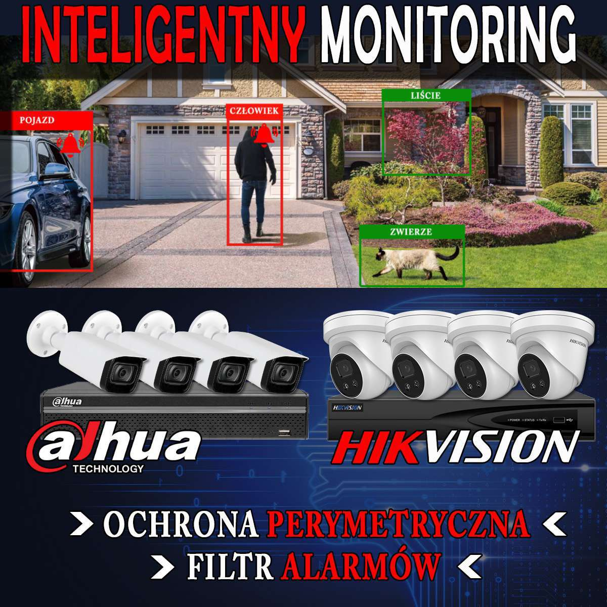 Monitoring inteligentny Deep Learning AcuSense WizSense SMD+ HikVision & Dahua