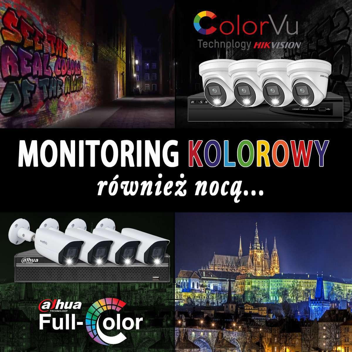 Monitoring kolorowy ColorVU HikVision i Full Color Dahua