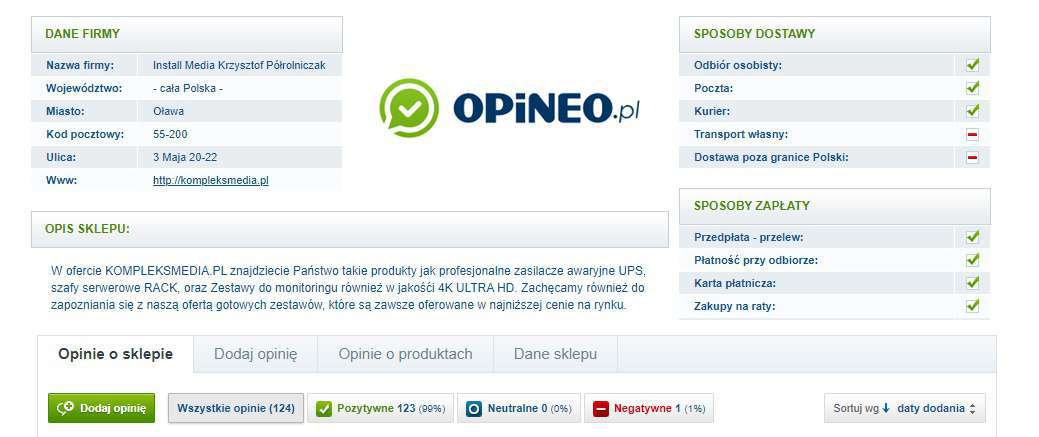 Opinie o Kompleksmedia.pl na Opineo.pl