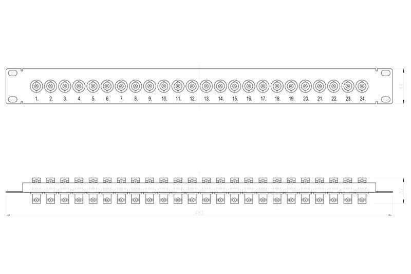Wymiary patch panela BNC R9120310 SIGNAL