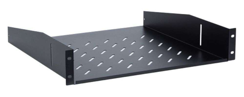2U / 450mm - Uniwersalna półka CFF100-1.5-A LINKBASIC czarna RAL9004
