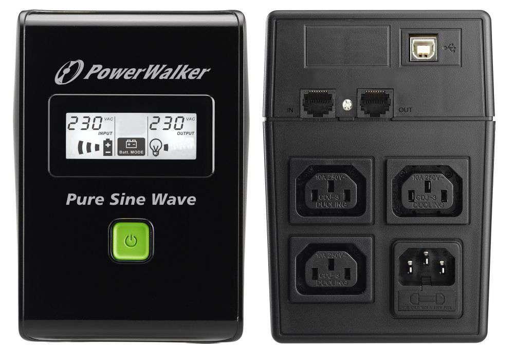 Zasilacz UPS awaryjny 800VA/480W VI 800 SW IEC PowerWalker