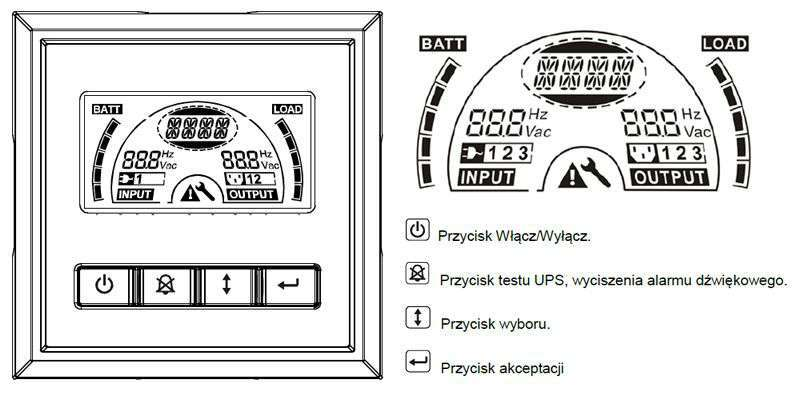 PowerWalker VI 1000 ERT HID wyświetlacz LCD