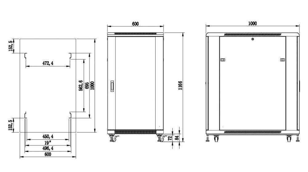 S6122DPII szafa rack systems rzeczywiste wymiary