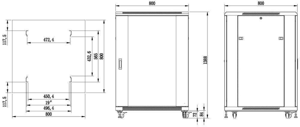 S8827W szafa rack systems rzeczywiste wymiary
