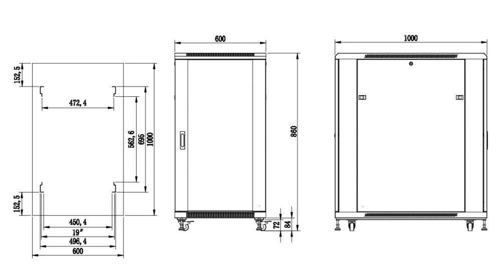 S6115DPII szafa rack systems rzeczywiste wymiary