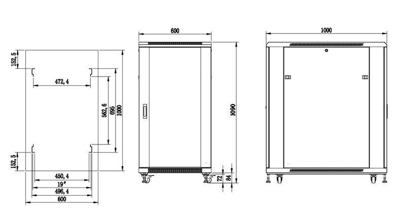 S6120DPII szafa rack systems rzeczywiste wymiary