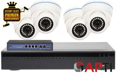 ZMIP-APT4KD80/IR20 Zestaw monitoringu APTI IP 8MPX IR20 UHD 4K 2160p SONY Starvis DOME