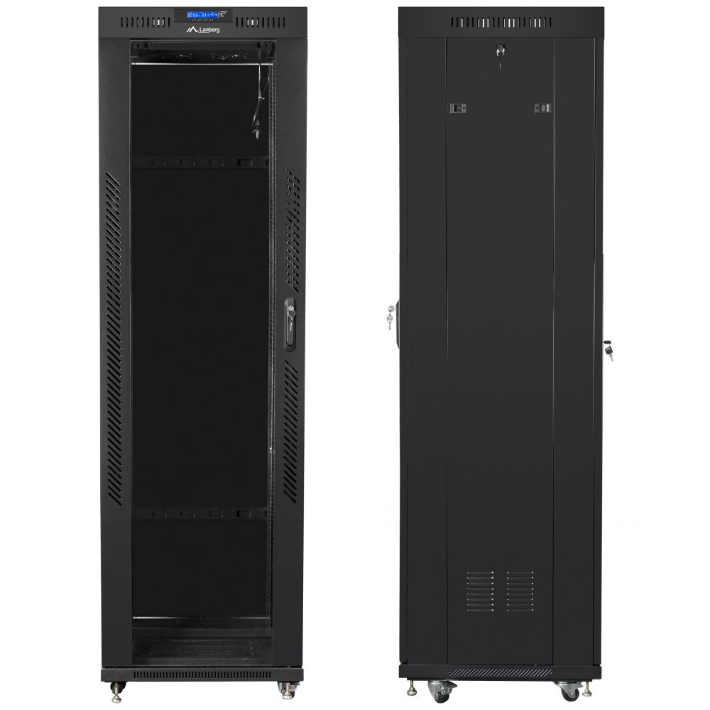 "Szafa Rack 19"" 42U 600x600 Lanberg FF01-6642-12BL z termostatem"