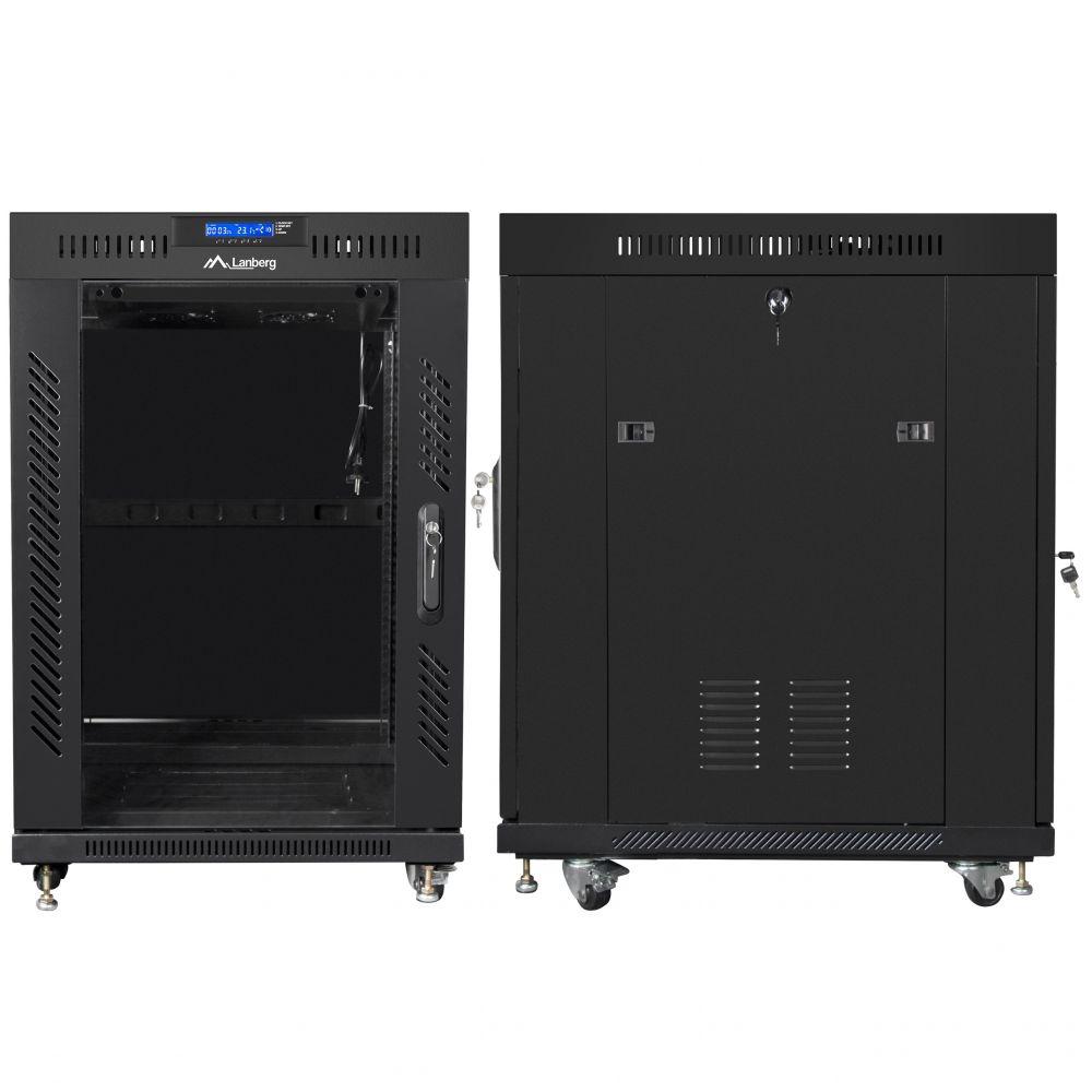 "Szafa Rack 19"" 15U 600x800 Lanberg FF01-6815-12BL z termostatem"