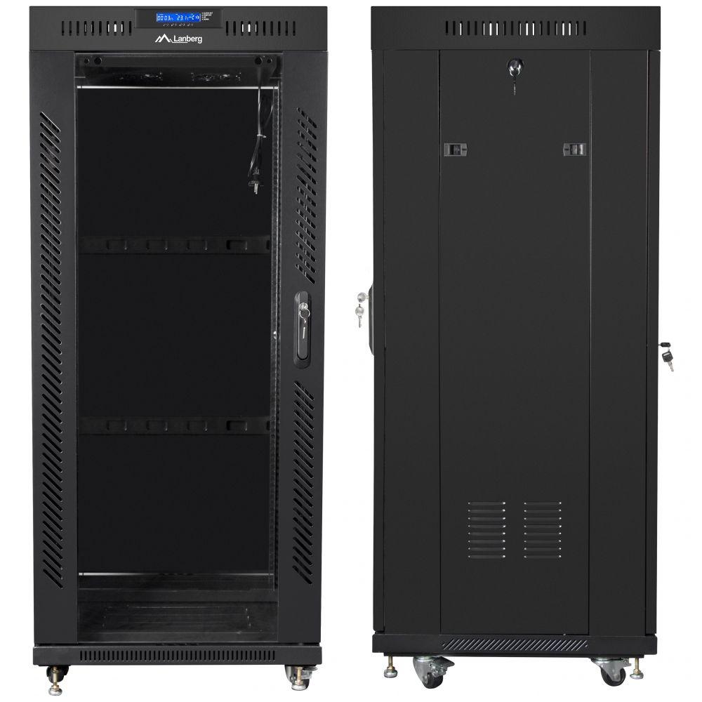 "Szafa Rack 19"" 27U 600x600 Lanberg FF01-6627-12BL z termostatem"