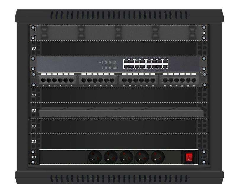16 portowy MEGA zestaw sieciowy 9U szafa RACK 19 ZMS09-645-16B