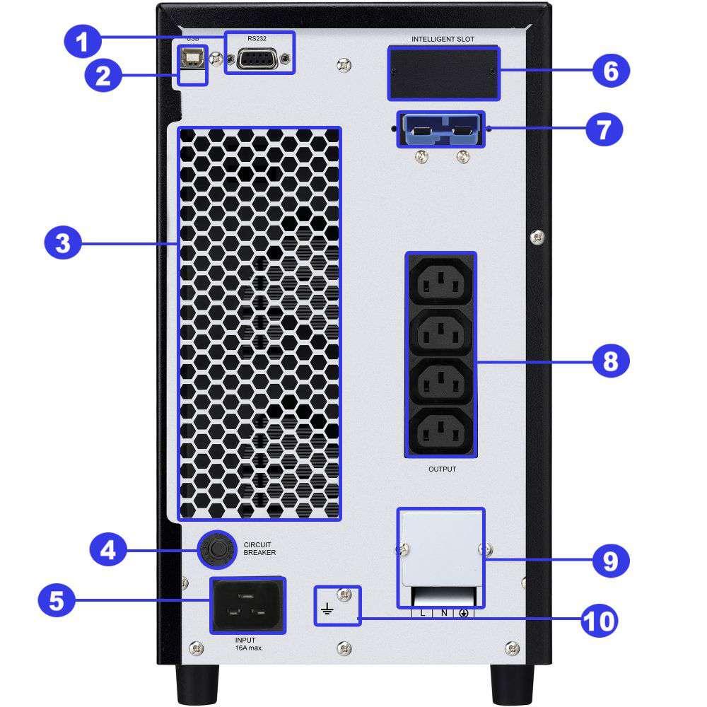 ☆ awaryjny ☆ tower ☆ online ☆ LCD ☆ 54Ah ☆ 4x IEC C13 ☆ Terminal ☆ RS-232 ☆ USB ☆ slot SNMP ☆ złącze bateryjne ☆ ViewPower PL