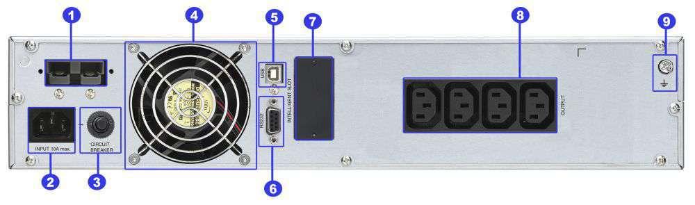 ☆ rackowy ☆ serwerowy ☆ online ☆ LCD ☆ 36Ah ☆ 4x IEC C13 ☆ RS-232 ☆ USB ☆ slot SNMP ☆ złącze bateryjne ☆ ViewPower PL