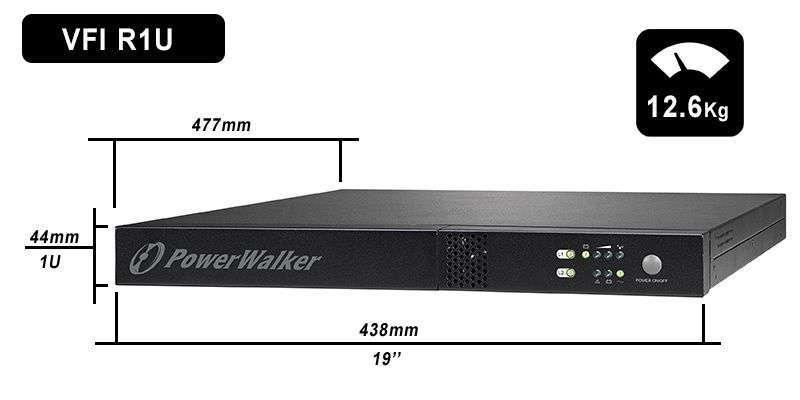 VFI 1000 R1U PowerWalker wymiary i waga