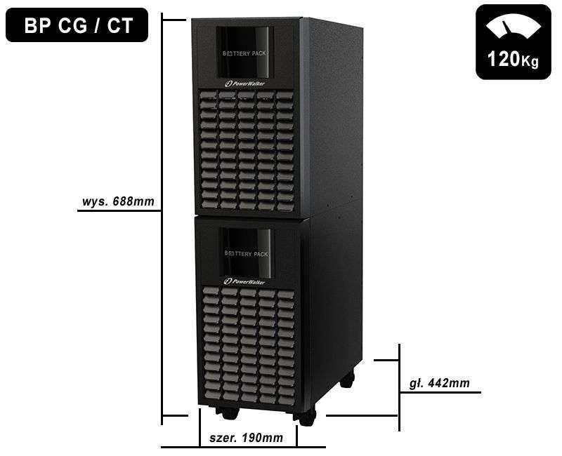 Battery Pack A240T-40x9Ah PowerWalker BP 10120558 wymiary i waga