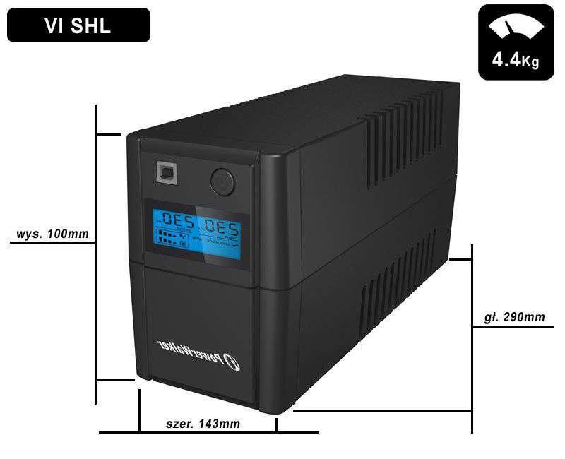 VI 650 SHL FR PowerWalker wymiary i waga