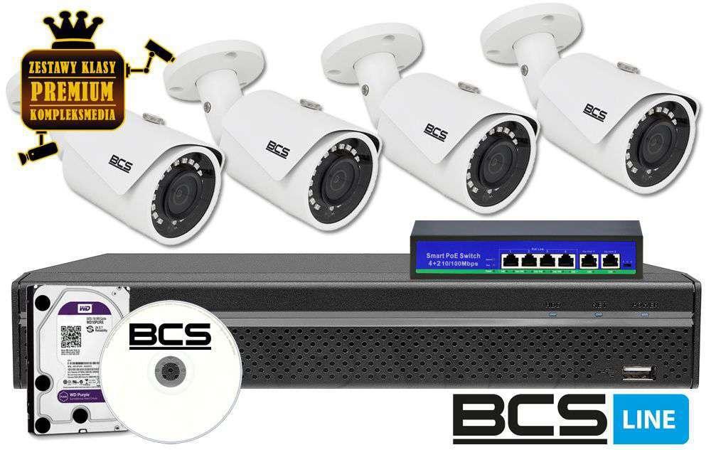 zestaw 4 kamer kanałowy monitoring ip zmip-bcs4kb20 bcs fhd full hd