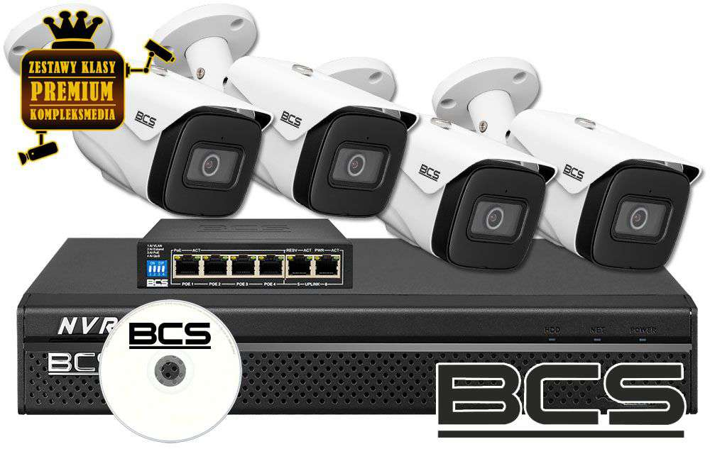 Zestaw do monitoringu IP ZMIP-BCS4KB50/MIC (5MPX) BCS