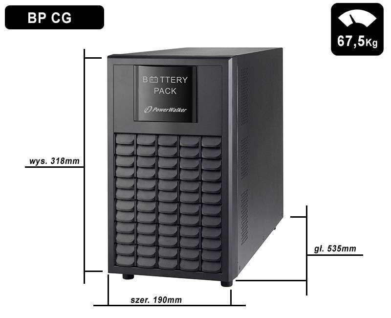 Battery Pack A72T-18x9Ah+3A PowerWalker BP 10120585 wymiary i waga