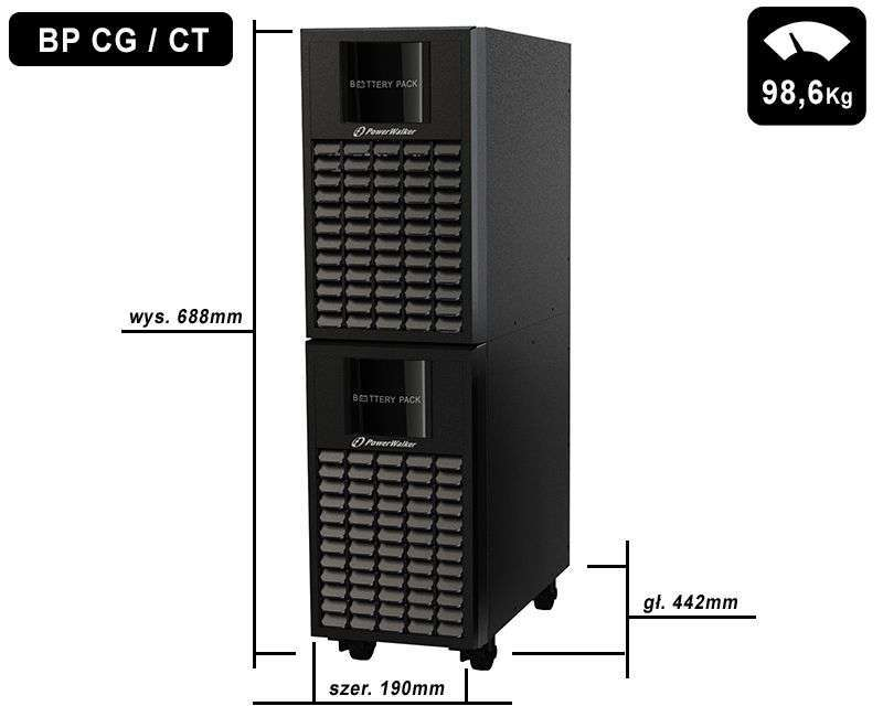 Battery Pack A192T-32x9Ah PowerWalker BP 10134027 wymiary i waga
