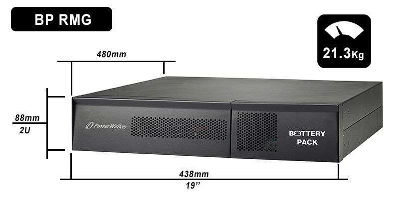 Battery Pack A36RM-6x9Ah PowerWalker BP 10120548 wymiary i waga