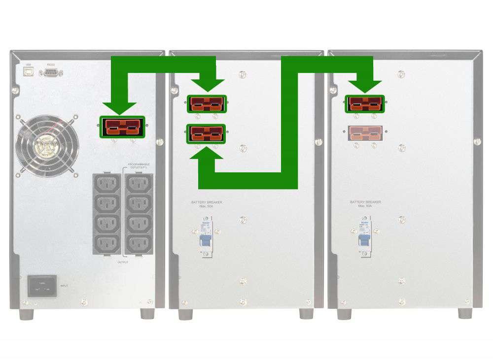 Battery Pack A36T-18x9Ah+3A PowerWalker BP 10120594 schemat podłączenia