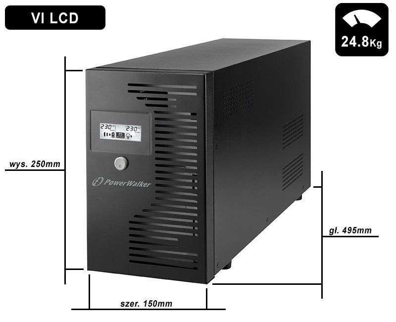 VI 3000 LCD FR PowerWalker wymiary i waga