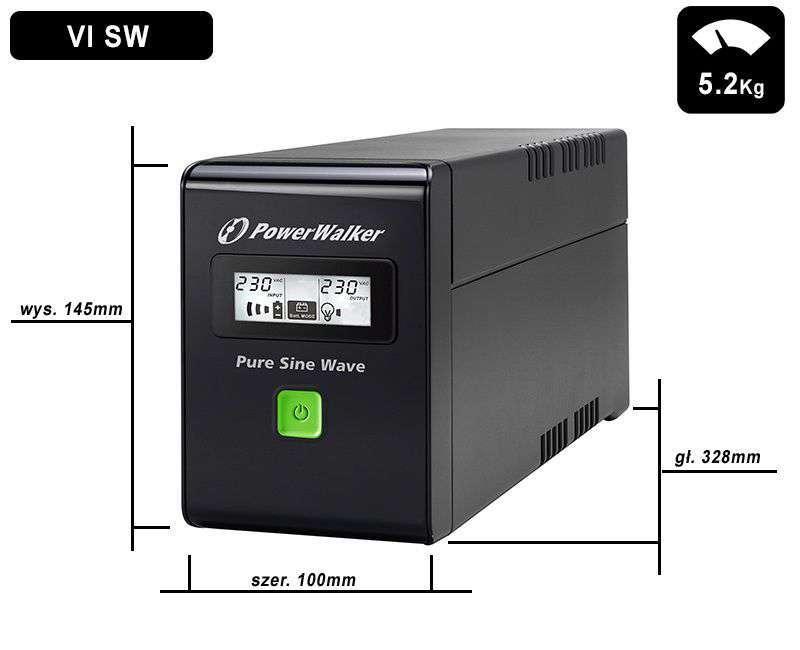 VI 600 SW FR PowerWalker wymiary i waga