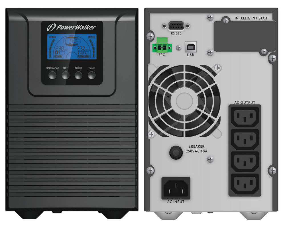 Zasilacz UPS online 1000VA/900W VFI 1000 TG PowerWalker