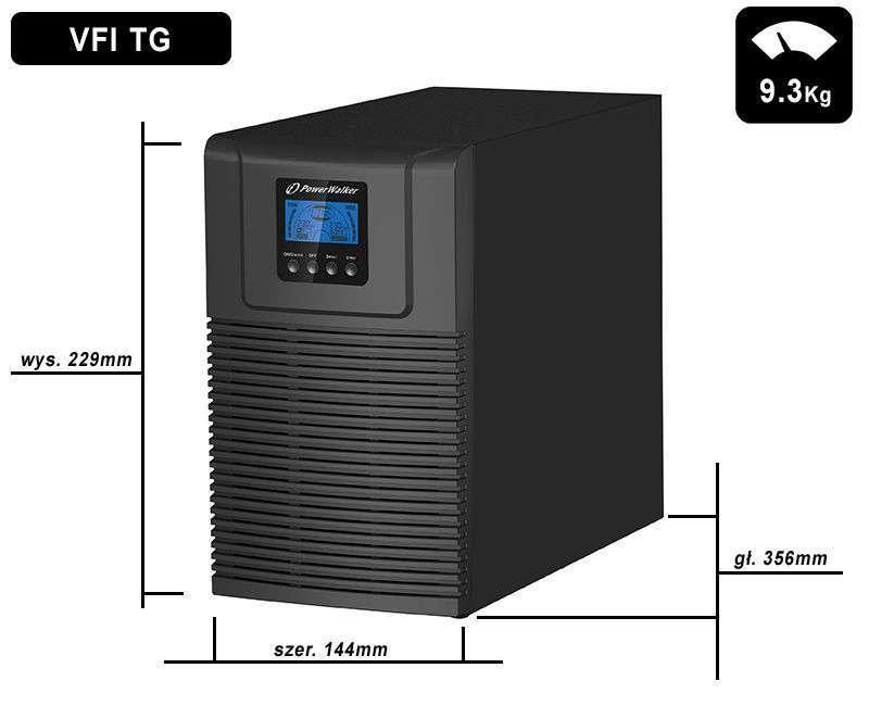 VFI 1000 TG HID PowerWalker wymiary i waga