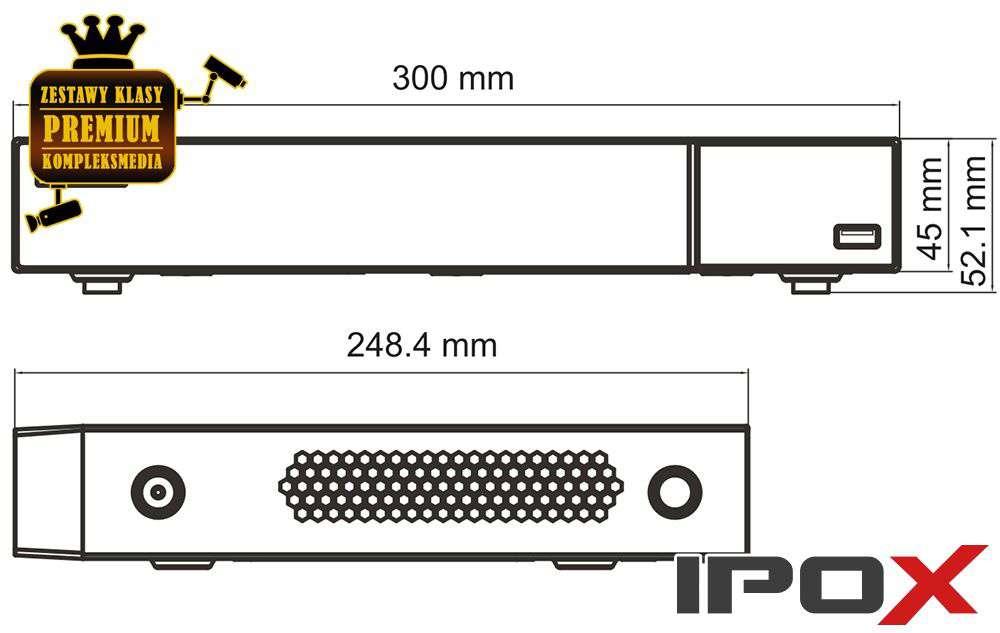 Wymiary rejestrator PX-NVR0481H IPOX 8MPX