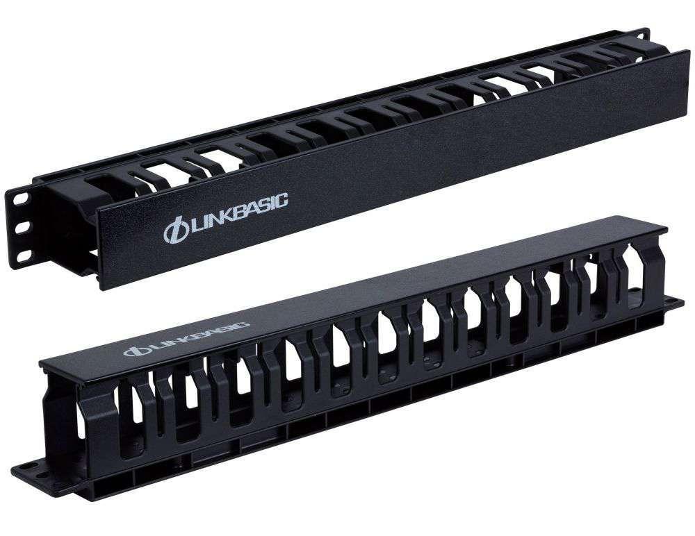 Organizer kabli 1U poziomy MTC04 Linkbasic czarny RAL9004