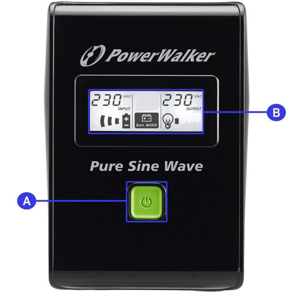 Opis złącz w zasilaczu awaryjnym UPS Power Walker serii VI SW SCHUKO