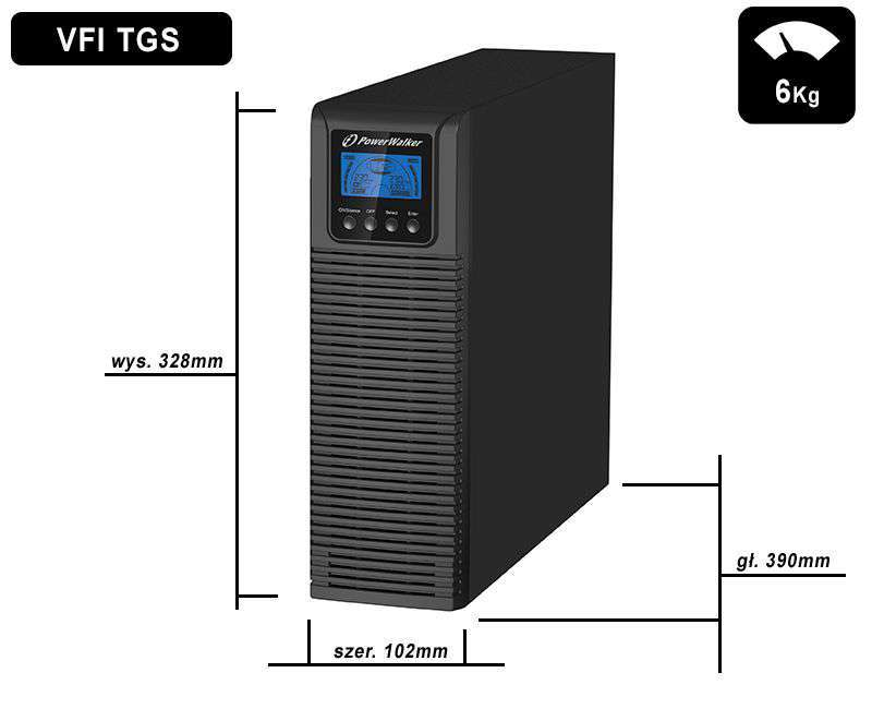 VFI 2000 TGS HID PowerWalker wymiary i waga