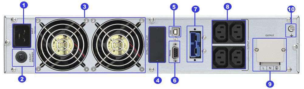 ☆ rackowy ☆ serwerowy ☆ online ☆ LCD ☆ 4x IEC C13 ☆ Terminal ☆ RS-232 ☆ USB ☆ slot SNMP ☆ złącze bateryjne ☆ ViewPower PL