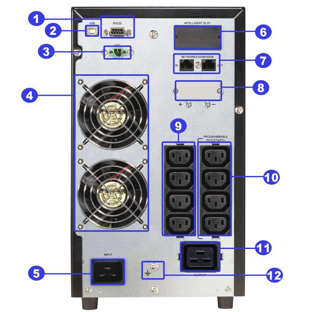 ☆ awaryjny ☆ tower ☆ online ☆ LCD ☆ 3000W ☆ 54Ah ☆ 9x IEC ☆ EPO ☆ RS-232 ☆ USB ☆ RJ-45/RJ-11 ☆ slot SNMP ☆ złącze bateryjne ☆ ViewPower PL