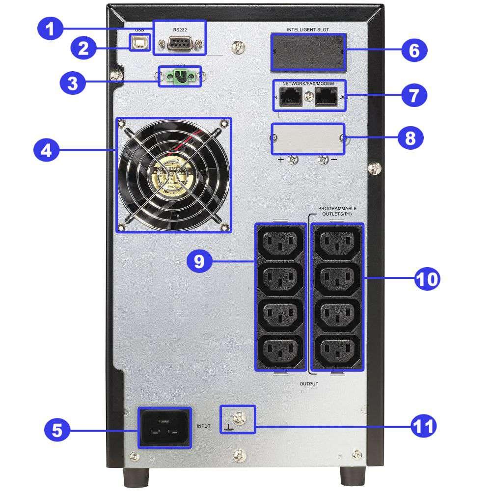 ☆ awaryjny ☆ tower ☆ online ☆ LCD ☆ 2000W ☆ 42Ah ☆ 8x IEC C13 ☆ EPO ☆ RS-232 ☆ USB ☆ RJ-45/RJ-11 ☆ slot SNMP ☆ złącze bateryjne ☆ ViewPower PL