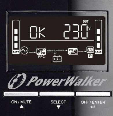 PowerWalker VFI 1500 CG PF1 wyświetlacz LCD