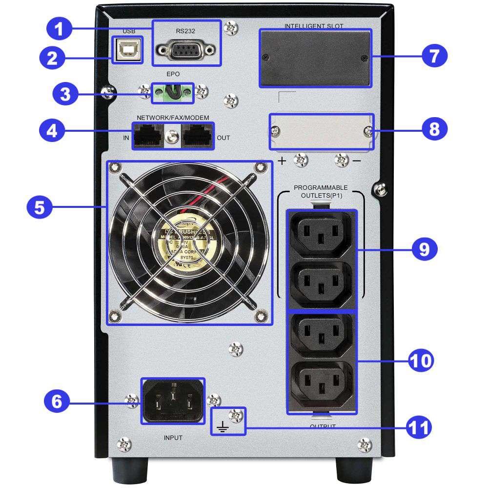 ☆ awaryjny ☆ tower ☆ online ☆ LCD ☆ 1000W ☆ 21Ah ☆ 4x IEC C13 ☆ EPO ☆ RS-232 ☆ USB ☆ RJ-45/RJ-11 ☆ slot SNMP ☆ złącze bateryjne ☆ ViewPower PL