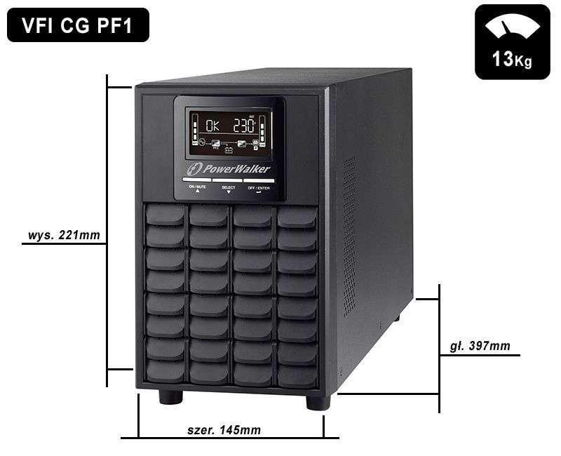 VFI 1000 CG PF1 PowerWalker wymiary i waga