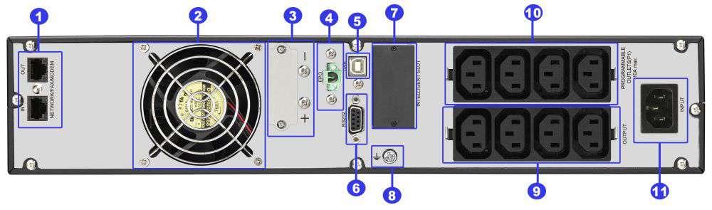 ☆ rackowy ☆ serwerowy ☆ online ☆ LCD ☆ 27Ah ☆ 8x IEC C13 10A ☆ EPO ☆ RS-232 ☆ USB ☆ RJ-45/RJ-11 ☆ slot SNMP ☆ złącze bateryjne ☆ ViewPower PL