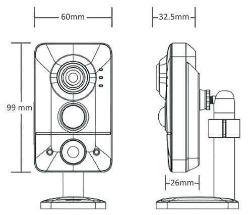 wymiary kamery bezprzewodowej ip wifi ipox px-ci2028ms-e ipox
