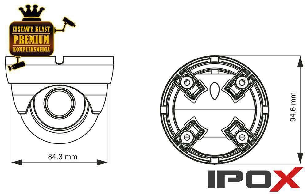 Wymiary kamery PX-DVH2028-E/W IPOX