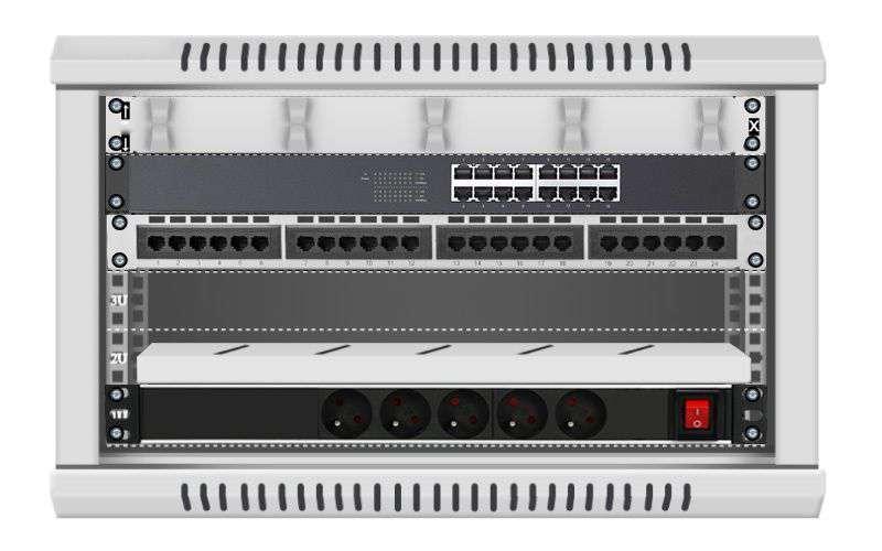 16 portowy MEGA zestaw sieciowy 6u szafa RACK 19 ZMS06-645-16S