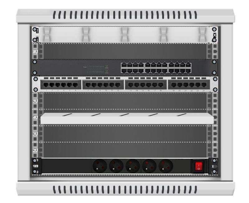 24 portowy GIGA zestaw sieciowy 9U szafa RACK 19 ZGS09-645-24S