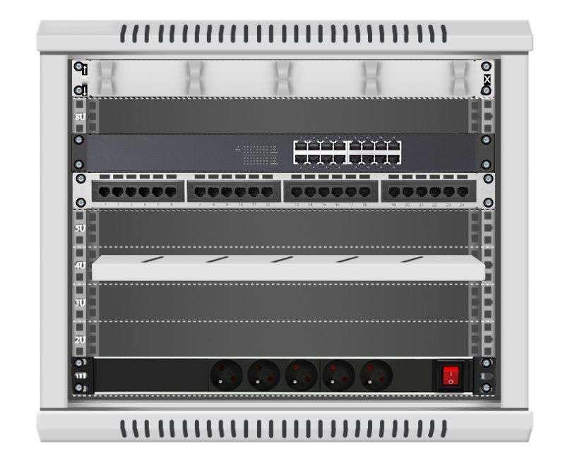 16 portowy MEGA zestaw sieciowy 9U szafa RACK 19 ZMS09-645-16S