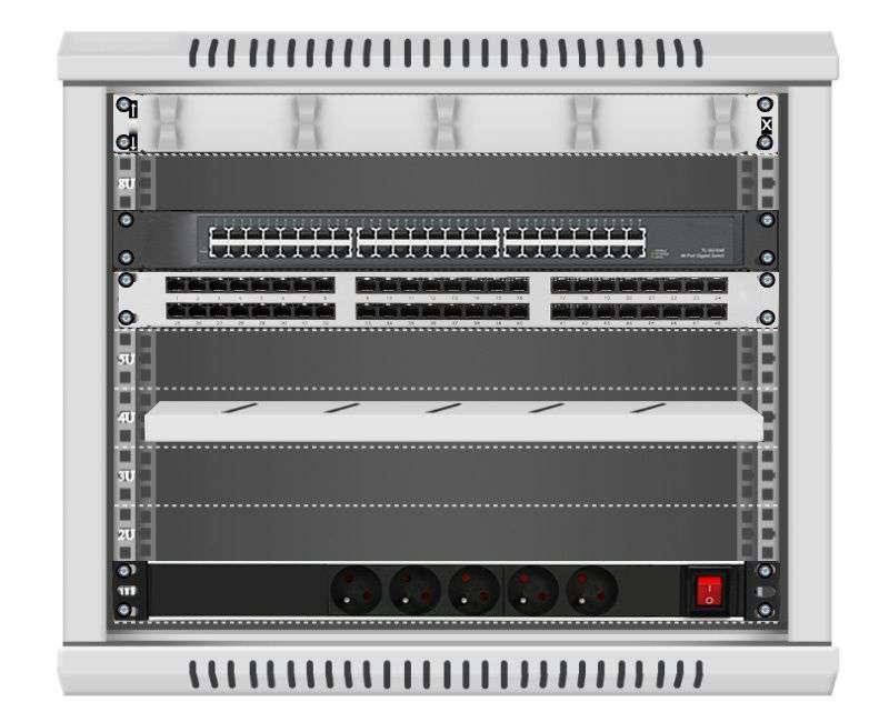 48 portowy MEGA zestaw sieciowy 9U szafa RACK 19 ZMS09-645-48S