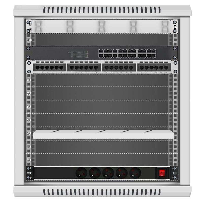24 portowy MEGA zestaw sieciowy 12U szafa RACK 19 ZMS12-645-24S