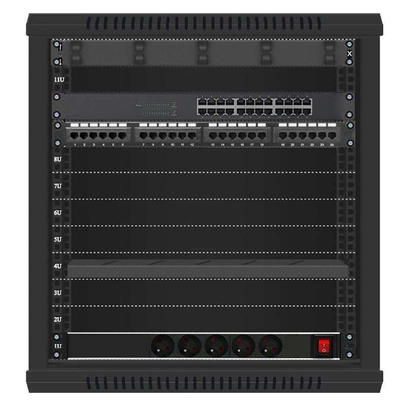 24 portowy GIGA zestaw sieciowy 12U szafa RACK 19 ZGS12-645-24B